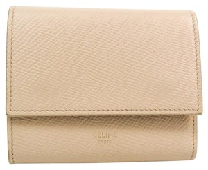 Celine Celine Small Trifold Wallet 10B573 Women's Embossed Calf Leather Wallet (tri-fold) Ivory