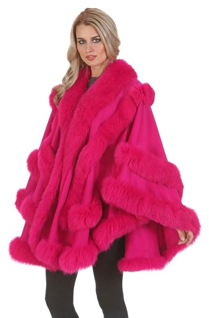 Item - Pink Hot Empress Style Fuscia Fox Fur Trimmed Cashmere Poncho/Cape Poncho/Cape Size OS (one size)