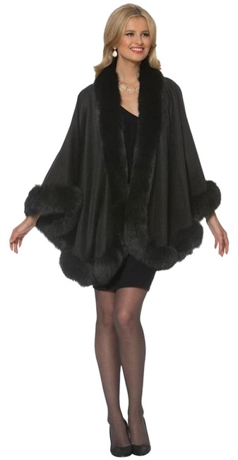 Item - Black Your Lady Fox Trimmed Cashmere Poncho/Cape Poncho/Cape Size OS (one size)