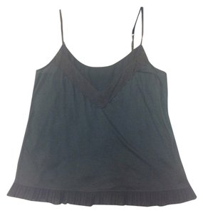 American Eagle Outfitters Lace Trim Ruffle Top Gray
