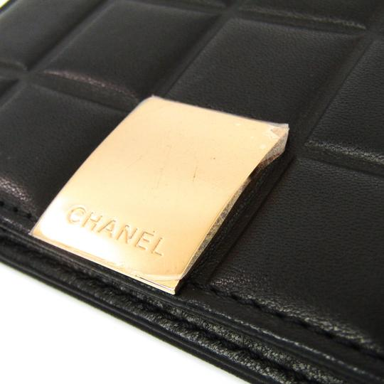 Chanel Black Bar Quilted Leather Card Holder Cover Image 5
