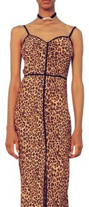 animal print with black piping Maxi Dress by Nanushka