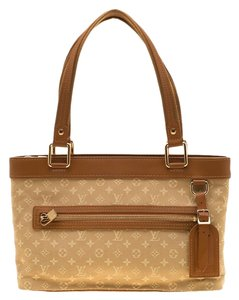 Louis Vuitton Leather Canvas Tote in Beige
