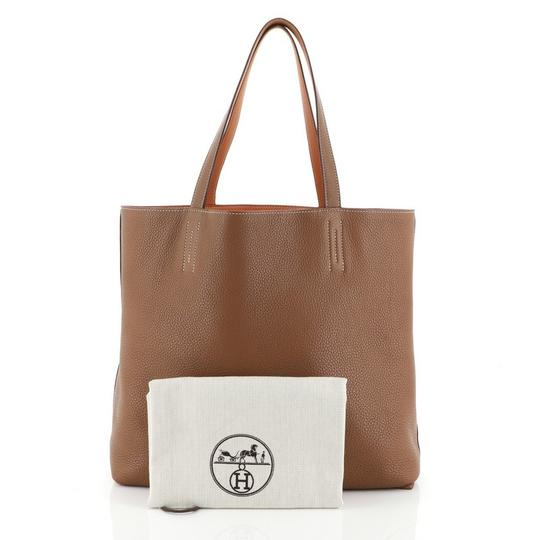 Hermès Leather Tote in Gold and Orange Image 1