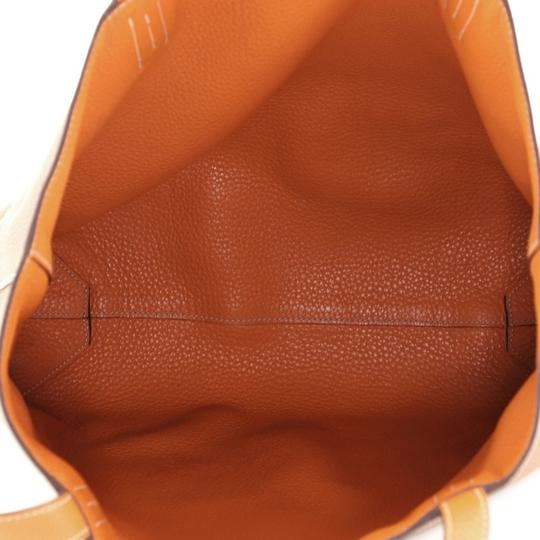 Hermès Leather Tote in Gold and Orange Image 11