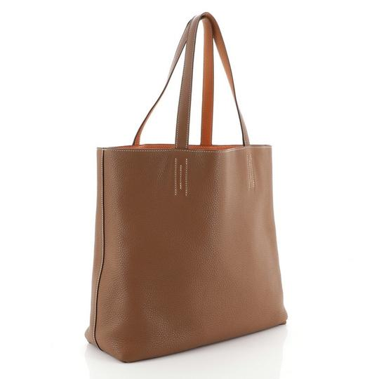 Hermès Leather Tote in Gold and Orange Image 2