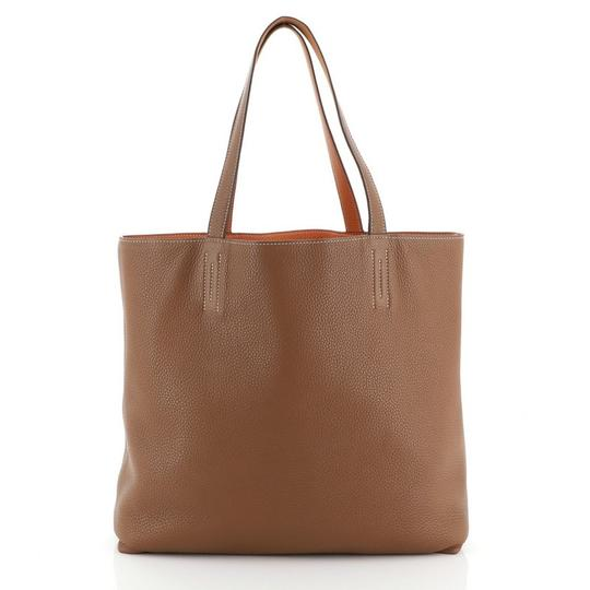 Hermès Leather Tote in Gold and Orange Image 3