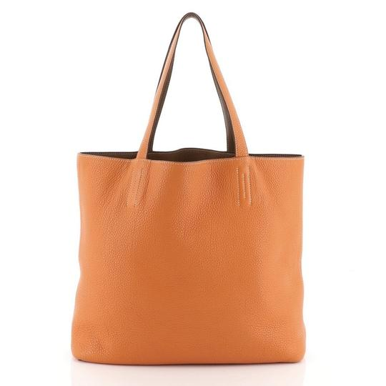 Hermès Leather Tote in Gold and Orange Image 5