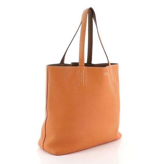 Hermès Leather Tote in Gold and Orange Image 6