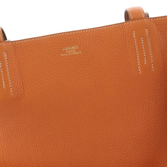 Hermès Leather Tote in Gold and Orange Image 9