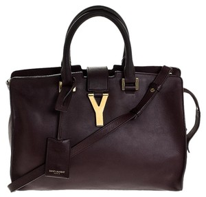 Saint Laurent Leather Tote in Burgundy