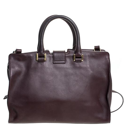 Saint Laurent Leather Tote in Burgundy Image 1