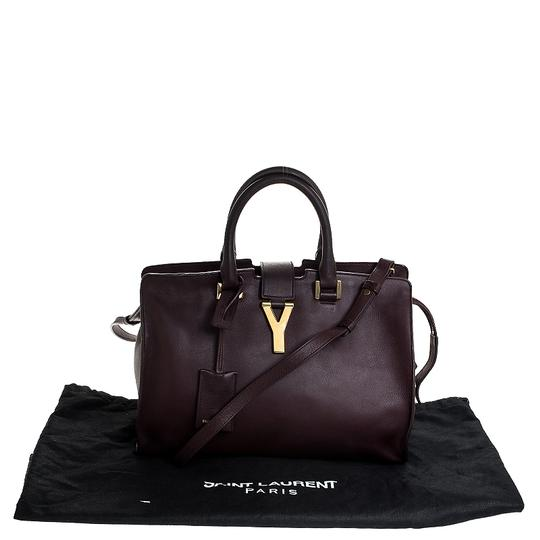 Saint Laurent Leather Tote in Burgundy Image 11