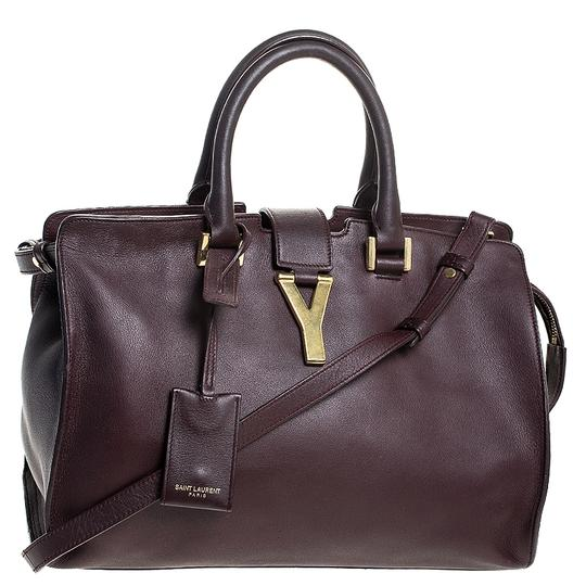 Saint Laurent Leather Tote in Burgundy Image 3