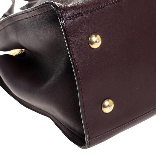 Saint Laurent Leather Tote in Burgundy Image 6