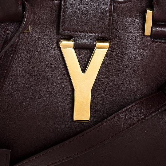 Saint Laurent Leather Tote in Burgundy Image 9