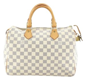 Louis Vuitton Speedy Canvas Satchel in White