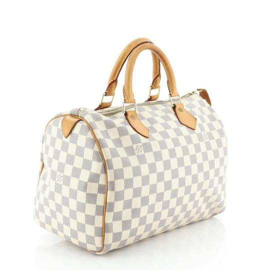 Louis Vuitton Speedy Canvas Satchel in White Image 1