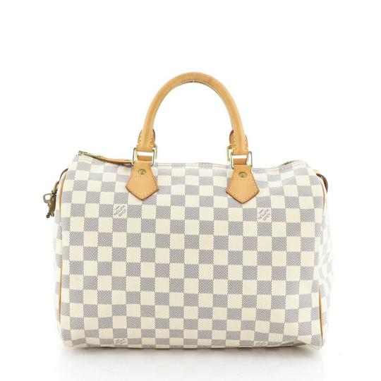 Louis Vuitton Speedy Canvas Satchel in White Image 2