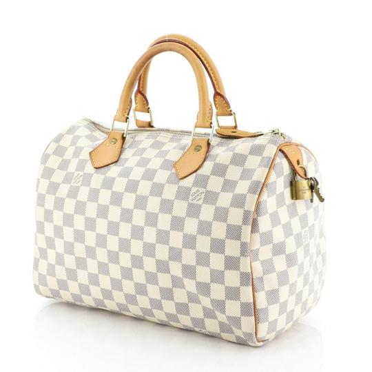 Louis Vuitton Speedy Canvas Satchel in White Image 3