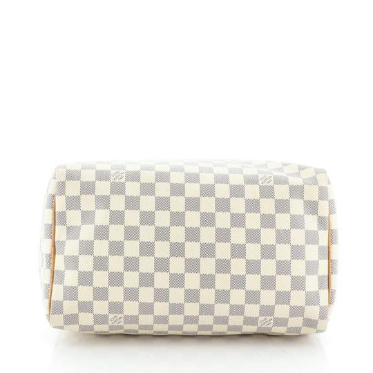 Louis Vuitton Speedy Canvas Satchel in White Image 4