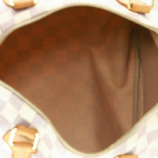 Louis Vuitton Speedy Canvas Satchel in White Image 5