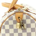 Louis Vuitton Speedy Canvas Satchel in White Image 7