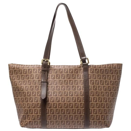 Fendi Leather Canvas Tote in Brown Image 1