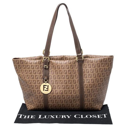Fendi Leather Canvas Tote in Brown Image 11