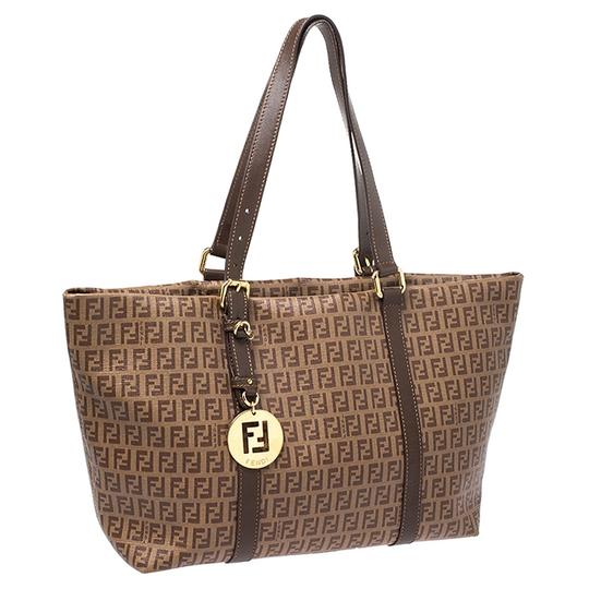 Fendi Leather Canvas Tote in Brown Image 3