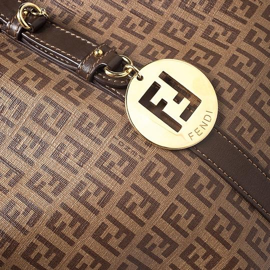 Fendi Leather Canvas Tote in Brown Image 9