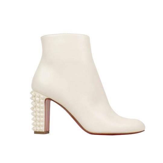 Christian Louboutin Leather Spikes Zipper Heels White Boots Image 1