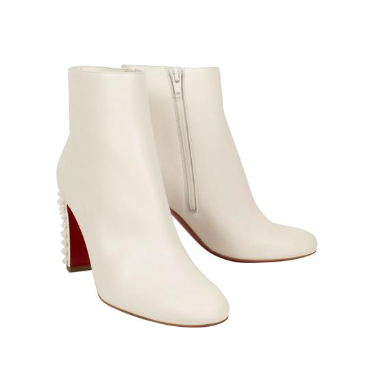 Christian Louboutin Leather Spikes Zipper Heels White Boots Image 2