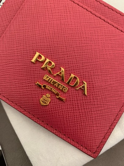 Prada HOT PINK Multi-Slot Card Holder in Saffiano leather Image 8