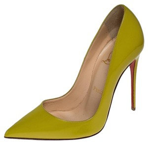 Christian Louboutin Patent Leather Pointed Toe Leather Yellow Pumps