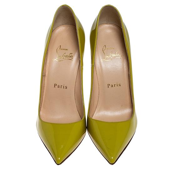 Christian Louboutin Patent Leather Pointed Toe Leather Yellow Pumps Image 1