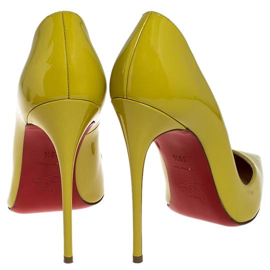 Christian Louboutin Patent Leather Pointed Toe Leather Yellow Pumps Image 2