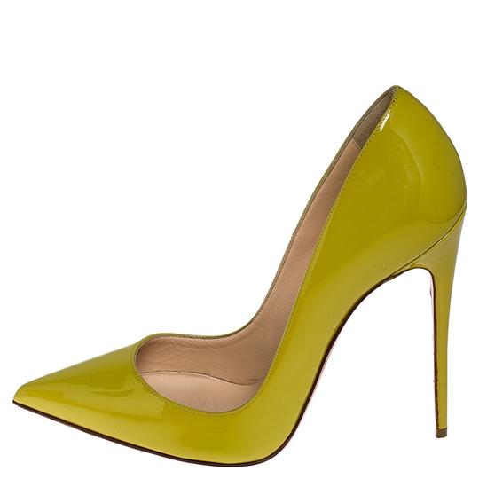 Christian Louboutin Patent Leather Pointed Toe Leather Yellow Pumps Image 4