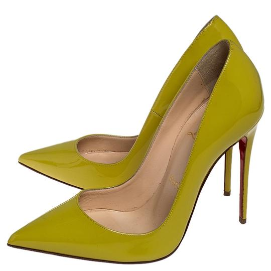 Christian Louboutin Patent Leather Pointed Toe Leather Yellow Pumps Image 5