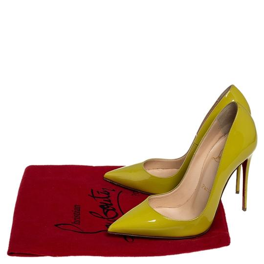 Christian Louboutin Patent Leather Pointed Toe Leather Yellow Pumps Image 7