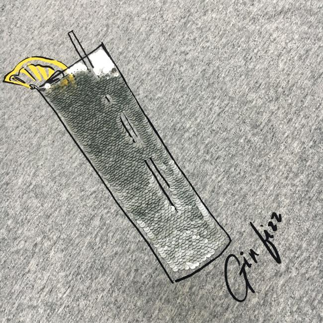 J.Crew Sequin Bling Graphic Happy Hour T Shirt Grey Image 2