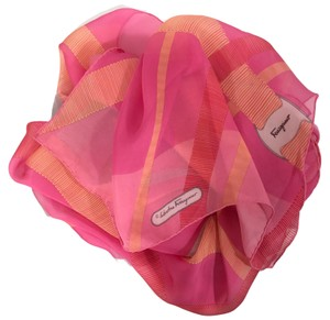 Salvatore Ferragamo NEW SALVATORE FERRAGAMO Decoro Fuxia Silk Scarf, Orange