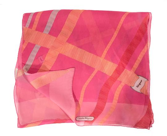 Salvatore Ferragamo NEW SALVATORE FERRAGAMO Decoro Fuxia Silk Scarf, Orange Image 3