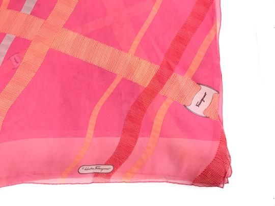 Salvatore Ferragamo NEW SALVATORE FERRAGAMO Decoro Fuxia Silk Scarf, Orange Image 5