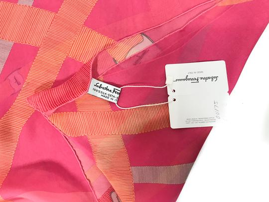Salvatore Ferragamo NEW SALVATORE FERRAGAMO Decoro Fuxia Silk Scarf, Orange Image 7