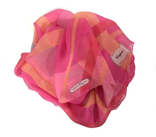 Salvatore Ferragamo NEW SALVATORE FERRAGAMO Decoro Fuxia Silk Scarf, Orange Image 8