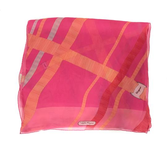 Salvatore Ferragamo NEW SALVATORE FERRAGAMO Decoro Fuxia Silk Scarf, Orange Image 9
