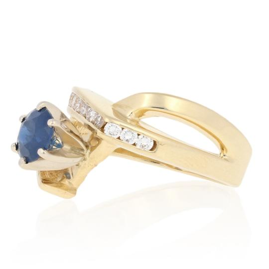 Wilson Brothers Jewelry 1.34ctw Round Cut Sapphire & Diamond Ring - 14k Gold Bypass E7584 Image 1
