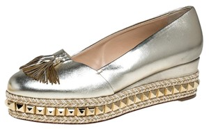 Christian Louboutin Metallic Leather Studded Gold Pumps