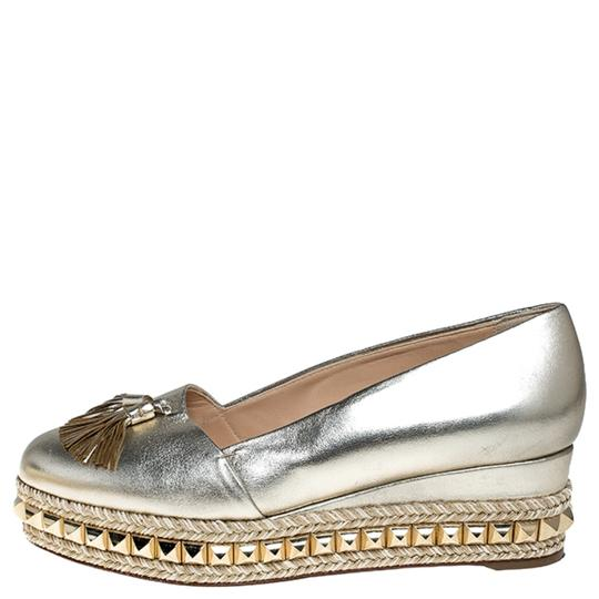 Christian Louboutin Metallic Leather Studded Gold Pumps Image 4